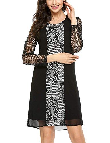 ACEVOG Damen Kleid mit Spitze, gerade, Rundhalsausschnitt, lockere Passform, Netzstoff, Blumenmuster - Schwarz - XX-Large
