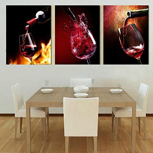 BICCQ Lienzo hogar Comedor Sala de Estar Porche Pintura al óleo Triple Vino Pintura de Pared Estudio Colgando Pintura Porche Mural (30 * 45cm * 3 Pintura Marco Interior)
