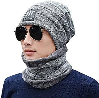 Men's 2 Pieces Hat Scarf Set Applique Thicken Hat Accessories Set