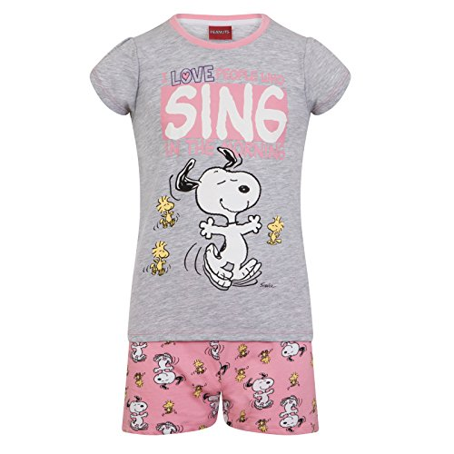 Peanuts Snoopy Official Gift Baby Toddler Girls Short Pajamas 18-24 Months Grey
