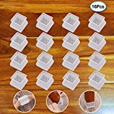 Furniture Silicon Protection Cover - 16Pcs Square Furniture Feet Chair Leg Caps - Silicone Chair Leg Floor Protectors - Prevents Scratches and Noise Without Leaving Marks