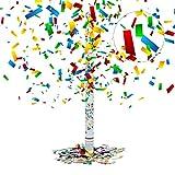 Relaxdays Cañón de Confeti, Altura de 6-8 m, Decoración para Bodas, Multi-Color, 80 cm, 5x5x80 cm