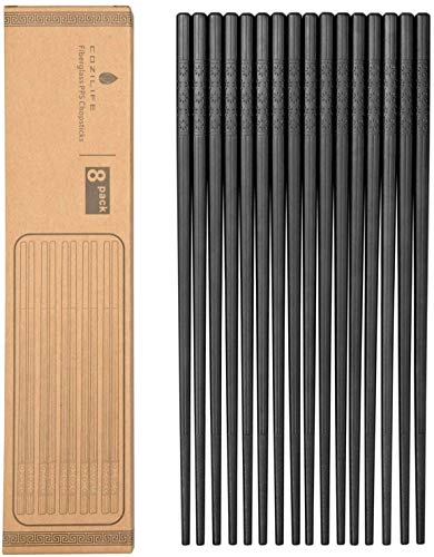 COZILIFE Reusable Chopsticks 8-Pairs, Premium Quality Fiberglass Chopsticks for Household and Restaurant, 9 1/2 Inches in length, Kraft Box Package