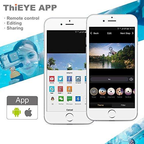 """ThiEYE i60e 4K Acción Cámara Wifi 12MP Full HD 1080P Impermeable Deportes Cámara 170 °Lente Ancha 2.0 """"Pantalla Deporte Acción Cámaras y 2 Batería(Sliver)"""