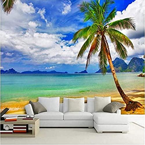 MHSHM 3D Behang Muurschilderingen Mural Fotobehang Hd Kustlandschap Palmstrand Muur Papier Voor Woonkamer Slaapkamer Tv Muur Home Decor-450cmx300cm