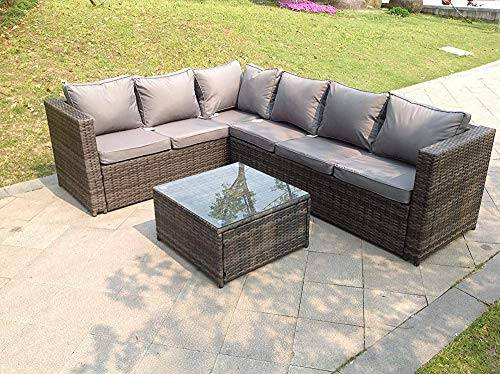 6-Seater Garden Furniture Set, Rattan Patio Dining Set, Wicker Corner Sofa Chairs, Glass Coffee Table,Grey