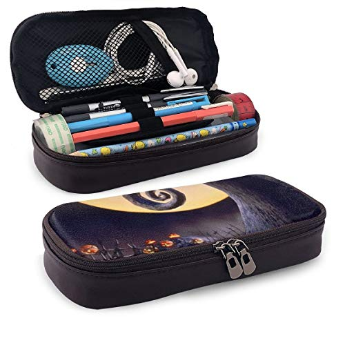 The Nightmare Before Christmas Leather Pencil Case Makeup Pencil Pouch Desk Supplies Organisers Pencil Holder with Zipper