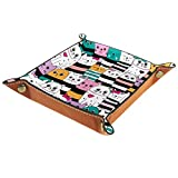 Valet Trays Leather Small Catchall Tray Desk Storage Organizer for Jewlery Key Glasses Headphone Coins Phone Wallet Cute Cats Ranking Pattern Stripes