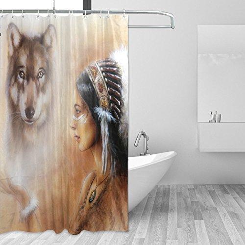 Jstel Indian Woman Wolf Duschvorhang, schimmelresistent & wasserdicht, Polyestergewebe, 182,9 x 182,9 cm, extra lang, dekorativer Duschvorhang mit 12 Haken