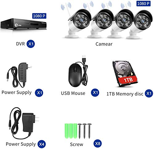 XVIM H.264 2MP Wireless Security Cameras System, 4CH 1080P HD DVR 4pcs 1080P Wireless Outdoor Indoor Waterproof Surveillance Cameras 100FT Night Vision (with 1TB HDD)