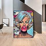 HAOOMOSP Lienzo de 60 x 80 cm, sin marco, arte pop, impresión de burbujas de Marilyn Monroe, póster de graffiti, decoración del hogar, dormitorio, cuadros modulares