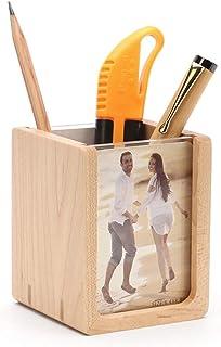 Pen Holder - U-Shaped Picture Frame Pen Holder, Maple + Acrylic Pen Holder, Creative 3 Inch U-Shaped Picture Frame Pen Holder