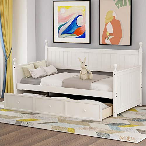 P PURLOVE Daybed with Three Storage Drawers Wood Twin Daybed Frame No Box Spring Needed (White)