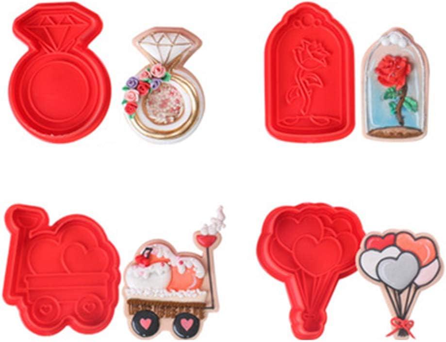 DENGNI Dedication Valentine's Trust Day Cookie Cutter 3D Sugar Fondant Sta Pastry