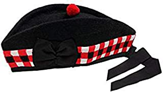 Scottish Piper Hat 100% Pure Black Wool Glengarry Triple Diced (55)
