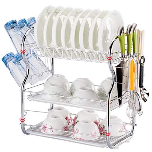KYSZD-Geschirrtrockner Küchenregale Eckregal Haushaltsgeschirrständer Edelstahlregal mit Tropfschale und Besteckhalter