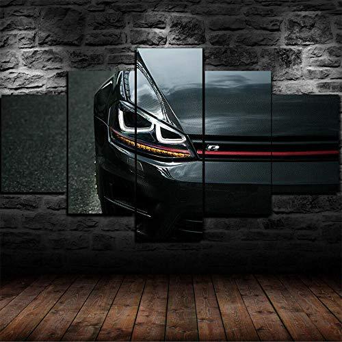 KOPASD 5 Piezas Decor Salon Murales Coche Golf 7 Mk7 R Pasillo Decor Arte Pared Enmarcado HD Impresión Regalo (Enmarcado Tamaño 200x100cm)