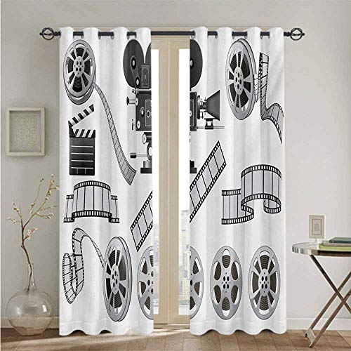 Movie Theater best home fashion thermal insulated blackout curtains Movie Industry Themed Greyscale Illustration of Projector Film Slate and Reel Suitable forAdjusting the scene outside the window W9