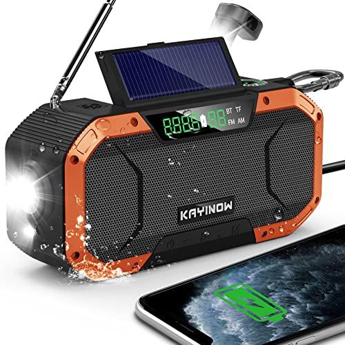 Emergency Radio with Bluetooth Speaker,Auto Scan AM/FM WB NOAA Weather Radio,Waterproof Solar Hand Crank Radio,Flashlight Reading Light,5000mAh Cell Phone Charger,SOS