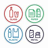 4 Pack Glass, Paper, Plastic, Metal Sign Stickers - Self-Adhesive Vinyl Decal Recycle Logos - Eco-Friendly Trash Can Signs - 6' Recycle Stickers - Indoor & Outdoor Use - Waterproof & UV Protected