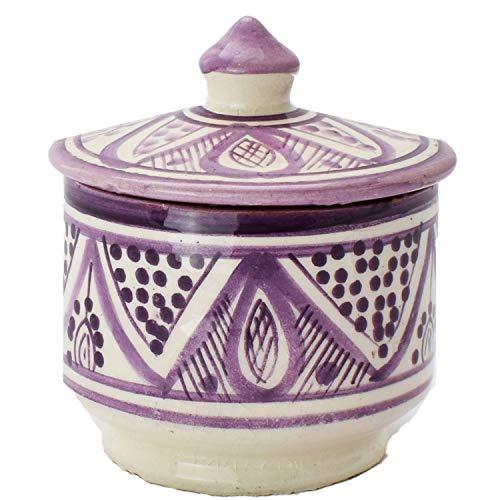 Oosterse keramische doos blikken keramiek Amra Purple 10cm | gekleurde Marokkaanse muntdoos thee koffie doos uit Marokko | Orient Vintage voorraaddoos kruidendoos rond | servies oosters met de hand geschilderd