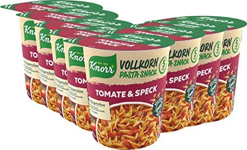 Knorr Vollkorn Pasta Snack Tomate & Speck leckeres Nudelgericht fertig in nur 5 Minuten - 8 x 57 g Becher -, 456 g