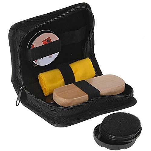 Générique Kit de Cirage Chaussure 6 Pièces : Cirage, Eponge Lustrante, Brosse de Cirage, Chiffon, Chausse-Pied.