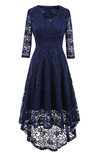 NALATI Spitzenkleid V-Ausschnitt 3/4 Ärmel Vintage Partykleid Asymmetrisch Festlich Abendkleid Brautjungfern Kleid (40, Dunkelblau)