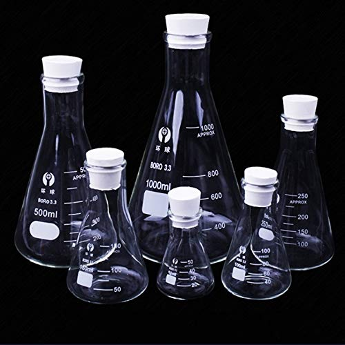 weichuang Termo de laboratorio Erlenmeyer de vidrio de borosilicato de cuello estrecho, triangular cónico, equipo químico de laboratorio, 50 ml a 1000 ml (capacidad: 50 ml)
