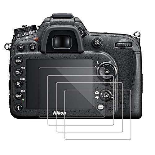 (Pacco da 4) OOTSR Proteggi Schermo per Nikon D7100 D7200 D800 D800e D810 D750 D610 D600 D500 Protezione in Vetro Temperato [Installazione Facile]