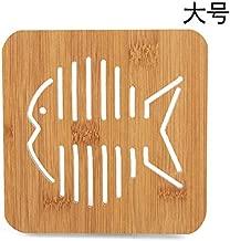 Abnh 2623 hollowed out wooden cartoon heat insulation mat pot mat meal mat creative lovely tea cup mat bowl mat(Fish tuba)