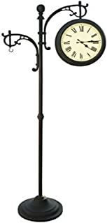Wisechoice 73 inch H Double Sided Pedestal Clock   Weather Station with Plant Holder