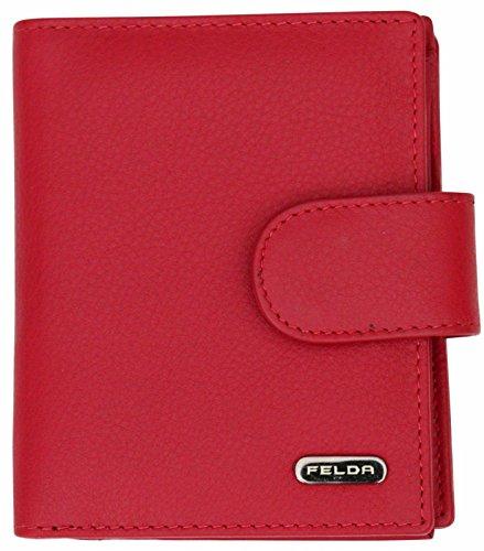 Cartera para Mujer - con Bloqueo de transmisiones RFID y 10 Ranuras para Tarjetas - Cuero auténtico Muy Suave - Rojo