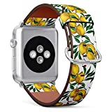 Compatible with Apple Watch (Big 42mm/44mm) Series 1,2,3,4 - Leather Band Bracelet Strap Wristband Replacement - Watercolor Lemon Branch