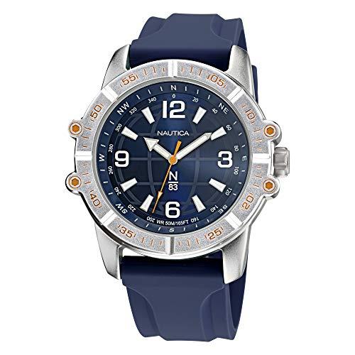 Nautica Men's Quartz Silicone Strap, Blue, 24 Casual Watch (Model: NAPGCF011)