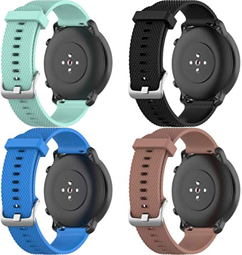 Classicase Compatible con Galaxy Watch 46mm / Galaxy Watch 3 45mm Correa de Reloj, Banda de Reemplazo Silicona Suave Sports Pulsera (22mm, 4-Pack H)