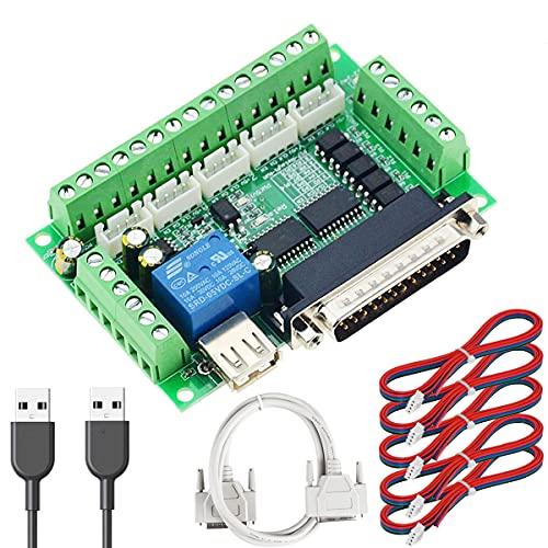 Youmile DC 12-24 V CNC Placa de conexión 5 ejes Placa de interfaz Mach3 Placa de acoplador óptico, con cable de puerto paralelo Cable USB XH2.54 Cable 4P para controlador de motor paso a paso MACH3