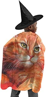 Cat Maine Coon Watercolor Illustration Pedigreed Womens Cloak with Hood Women Cape Cloak Witch Cloak and Hat Dress Up for Halloween Birthday Party