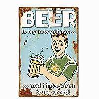 ビールは私の新しい宗教金属ティンサイン