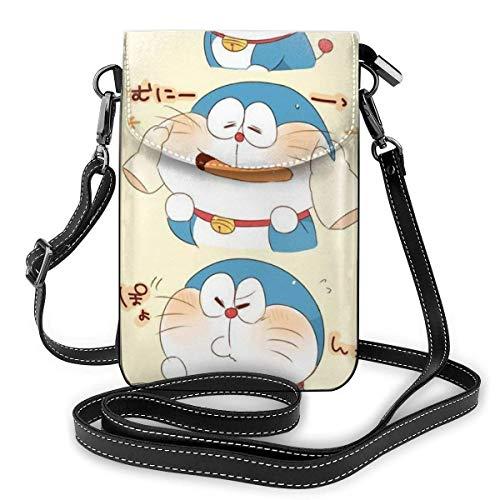 Bolso cruzado pequeño bolso para teléfono celular Kawaii Doraemon impresión con ranuras para tarjetas de crédito