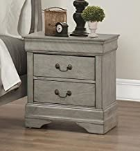 Louis Philip Grey Finish Wood 2-Drawer Nightstand by Crown Mark