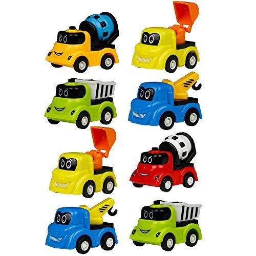 TONZE Coches Juguete Camion Mini Vehiculos de Construcción Tire hacia Atrás y Suelte Juego Set Coches Pequeños para Infantiles Niños Niñas 3 4 5 Años, 8 Piezas