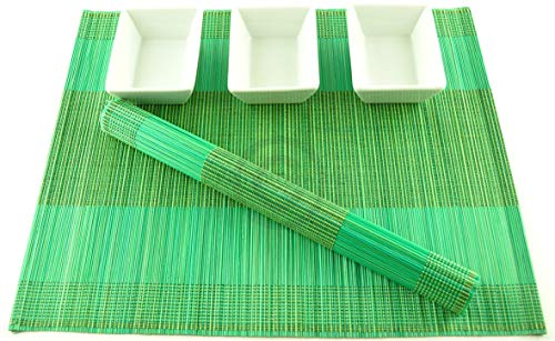 4 faite à la main en bambou Sets de table, sets de table, Lot de 4,, Vert-jaune P083