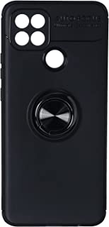 Fashion Auto Focus Silicone Back Cover with Metal Ring For Samsung Galaxy A15S Mobile Phone - Black