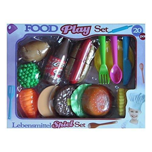 GUIZMAX Ensemble de dinette à découper 20 pièces Hamburger frite Hot Dog Cuisine Enfant, ( Legume Fruit )