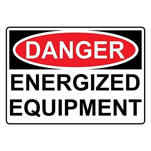 EricauBird Metal Signs- Aluminum Danger Energized Equipment Sign, with English Text, White 7x10