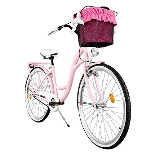 Milord. 2018 Cómoda Bicicleta de ciudad con una Canasta, Bicicleta, 1 Velocidad, Rueda de 26', Rosa