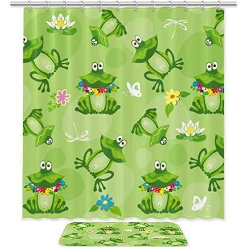 SZZWY Frog Background Pattern Shower Curtain Set 3D Printing Waterproof Coated Polyester Fabric Bathroom with 12 Hooks 71 inches Indoor Floor Mat Bath Rugs 60x40cm