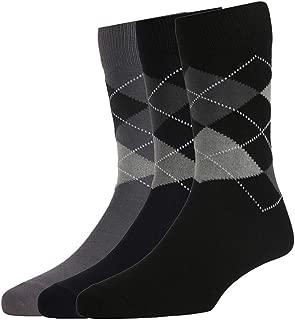 Peter England Men's Cotton Full Length Socks (Grey, Blue, Black, Free Size) Pack of 3