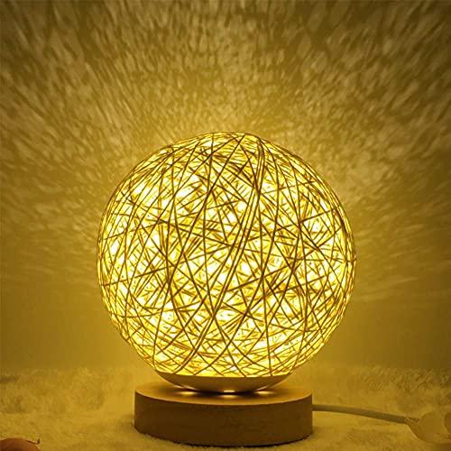 Tiop Lámpara de mesa redonda LED con forma de bola, luz de noche con brillo ajustable, ratán, lámpara de noche